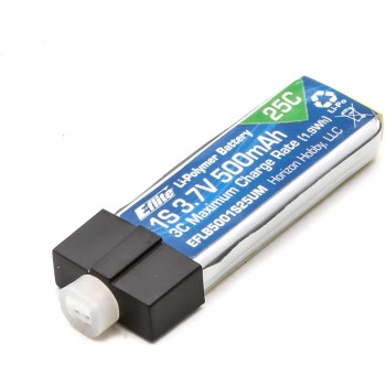 E-flite 3.7V 500mAh 1S 25C LiPo Battery: PH 2.0 (High-Current Ultra Micro)