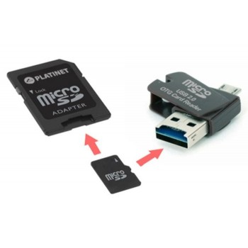 PLATINET 4-in1 MicroSD 16GB + CARD READER + OTG