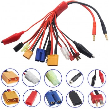 ShareGoo 10 in 1 4mm Banana Plug R Lipo Battery Multi Charger Adapter Lead Cable Converter