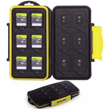 Skoloo SD Card Case Waterproof Memory Card Holder, 12 SD Case Storage +12 Micro SD Card holder for SDHC SDXC TF Card Yel