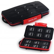 Skoloo SD Card Case Waterproof Memory Card Holder, 12 SD Case Storage +12 Micro SD Card holder for SDHC SDXC TF Card Red