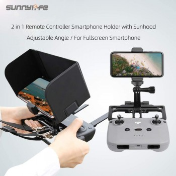 Sunnylife Remote Controller Mobile Phone Holder with Sun Hood Full Screen Smartphone Holder for DJI Drone