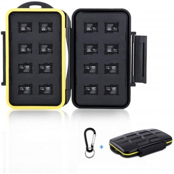 WonderFoto 16 Slots Micro SD Card Holder, Micro SD Holder Car With Carbiner Water Resistant - Anti Shock.